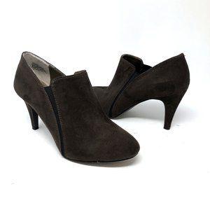 Nine West Celia Brown Suede Shoe Bootie Heels Sz 7